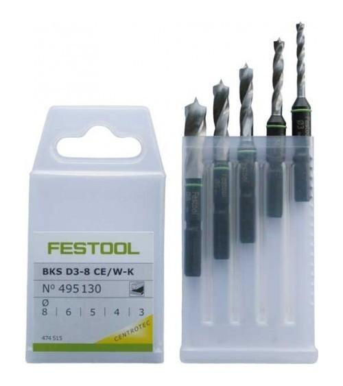 Festool spiralinių grąžtų rinkinys BKS D 3-8 CE/W-K